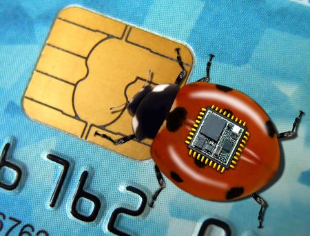 Spy bug takes data from the chip plastic credit card. photo