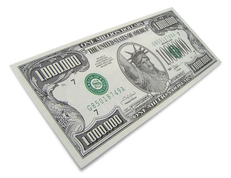 One million dollars isolated on white background