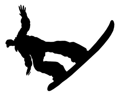 black giant mountain: A silhouette of a snowboarder isolated. Sports. Winter. Snow. Extreme. Stock Photo