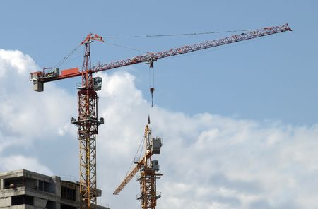 Cranes for construction industry. The image has been converted from a RAW-format. Stock Photo - 3118448