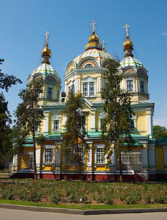 Ascension (Svyato-Voznesensky) Cathedral, the Russian orthodox church in Panfilov Park, Almaty, Kazakhstan. The former Ascension Cathedral, built in 1907 and the second highest wooden building in the world, now houses a museum.