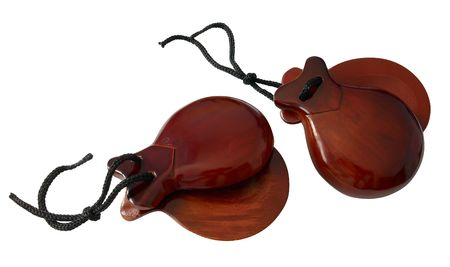 Two Spanish Castanets isolated over white Stock Photo