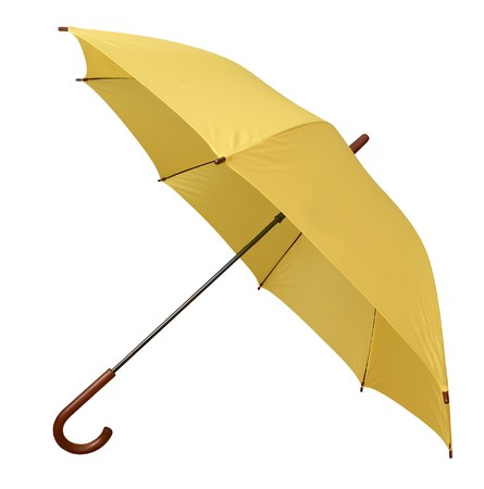 Opened yellow umbrella isolated on white background. Clipping path.