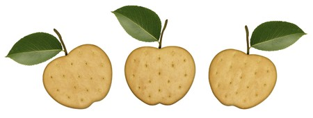 Three apple cookies isolated over white background photo