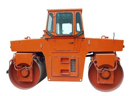 roller compactor: Road roller compactor isolated over white. Stock Photo