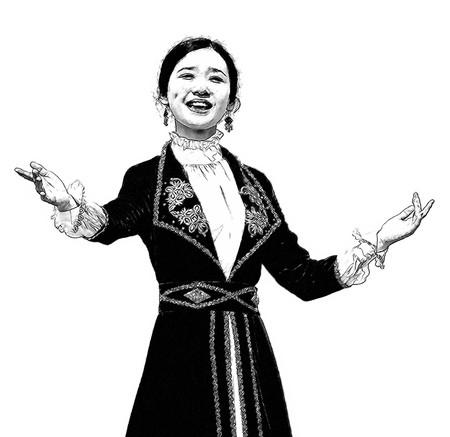 kazakh: Asian dancing woman in Kazakh national costume. Stock Photo