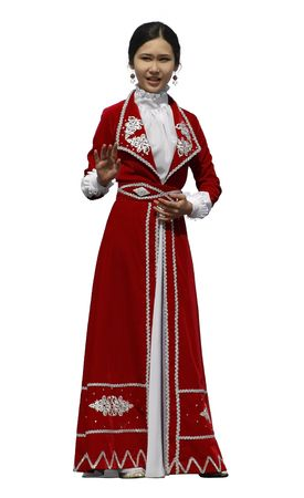 Kazakh woman in the red national costume isolated over white background.