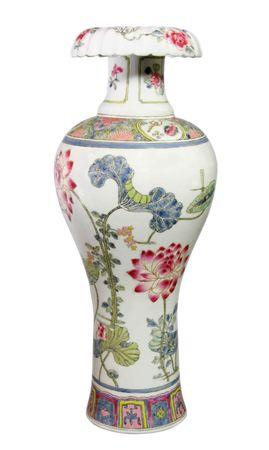 antiquity: Antique Chinese Vase isolated over white  Stock Photo