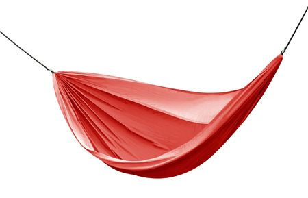 Red hammock isolated over white with clipping .