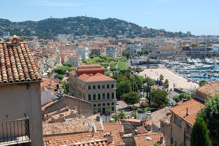 View of Cannes taken from tower in the old town. Stock Photo