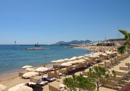 View of Croissette Beach at Cannes alpes maritime provence cote dazur south of France. Stock Photo