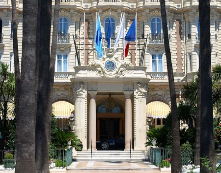 Main Entrance of Hotel on Croisette promenade in Cannes France. Stock Photo