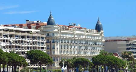 Luxury Hotel on Croisette promenade in Cannes France.