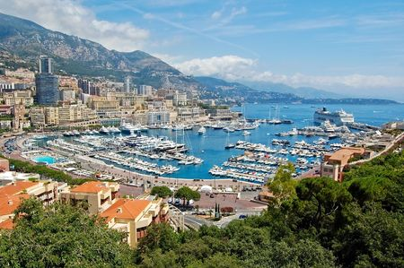 View of Monaco harbor, Monte Carlo Stock Photo