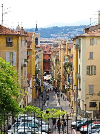 Beautiful street in Nice, France Stock Photo
