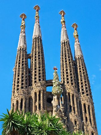 sagrada: Sagrada Familia, Gaudis most famous and uncompleted cathedral in Barcelona, Spain.