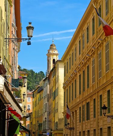 Beautiful street in Nice, France Stock Photo