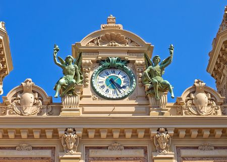 The top part of a facade of the Grand Casino in Monte Carlo, Monaco