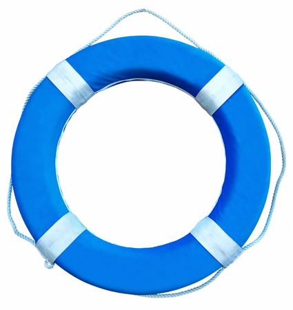 Blue Life Buoy isolated over white background. Clipping path. Stock Photo
