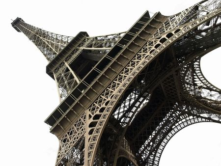 Eiffel Tower isolated over white background, France.