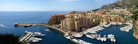monaco: Panorama of Monte Carlo Marina from Above. Fontvieille, new district of Monaco.