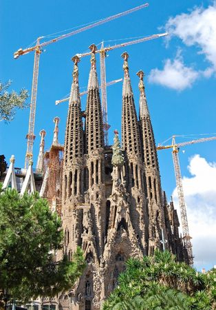Sagrada Familia, Gaudis most famous and uncompleted cathedral in Barcelona, Spain.