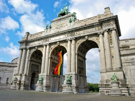 Triumphal arch in the Parc du Cinquantenaire, Brussels, Belgium Stock Photo