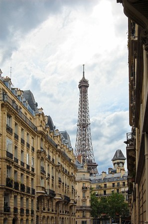 Street with a view to Eiffel Tower. Paris, France. Stock Photo