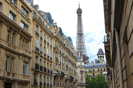 paris street: Street with a view to Eiffel Tower. Paris, France. Stock Photo