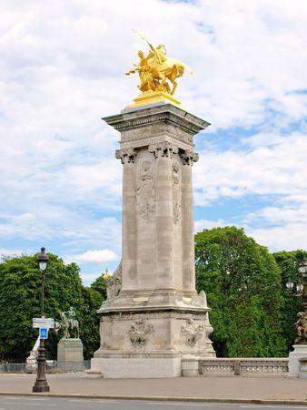 Pont Alexandre Bridge Pylon with Golden Statue, Paris, France photo