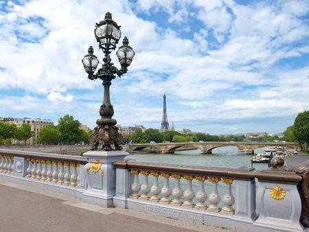 paris street: Paris view with Eiffel tower from Bridge of Alexandre III