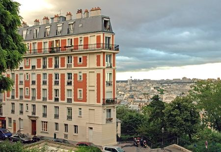 France, Paris, Montmartre, view of the city from the Sacre Coeur church.