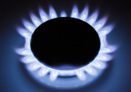 Blue flames of a burning natural gas. Gas cooker in action. Stock Photo - 8261154
