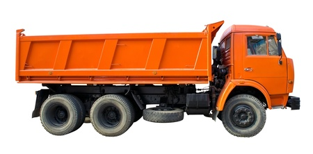 A large dump truck with two rear axles