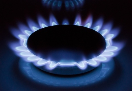 Blue flames of a burning natural gas. Gas cooker in action.  Stock Photo - 8321497