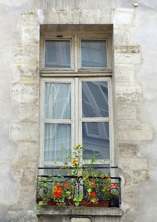 Vintage window on the wall, Paris, France