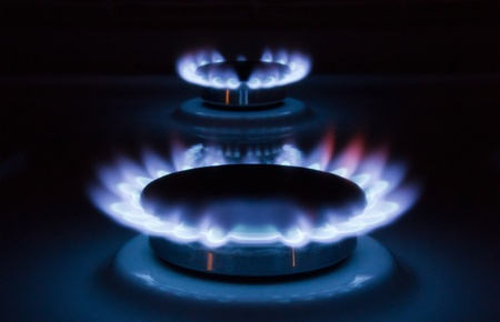 Blue flames of a burning natural gas. Gas cooker in action. Stock Photo - 8471638