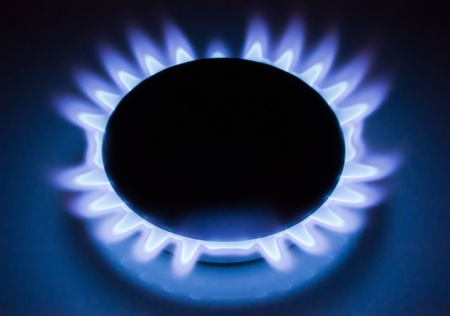 Blue flames of a burning natural gas. Gas cooker in action. Stock Photo - 8490333