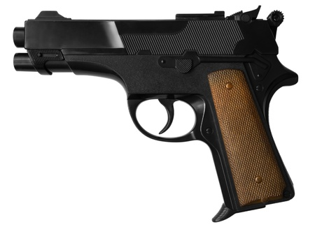 Black pistol isolated on white  Stock Photo