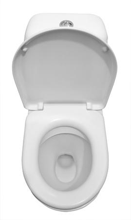 Biały toaletowe ceramiczne samodzielnie na białym tle.