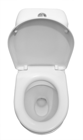 public toilet: White ceramic toilet isolated on a white background.  Stock Photo