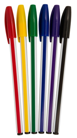 Colorful ballpoint pens isolated on white background.