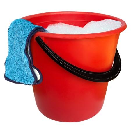 bucket water: Cubo de pl�stico rojo y tela de piso