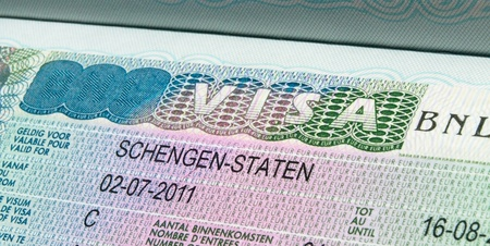 Schengen visa 2011 in passport. Stock Photo