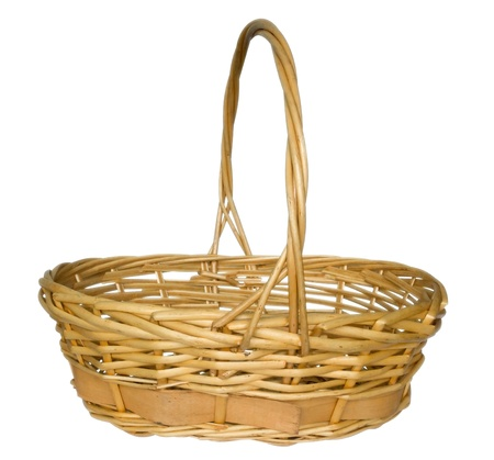 Wicker basket isolated on white background. Clipping path included. photo