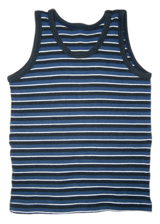 underwaist: Front view of blue striped sleeveless sports shirt isolated on white background.