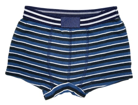 Front view of blue striped underwear boxer shorts isolated on white background. Stock Photo - 9724131