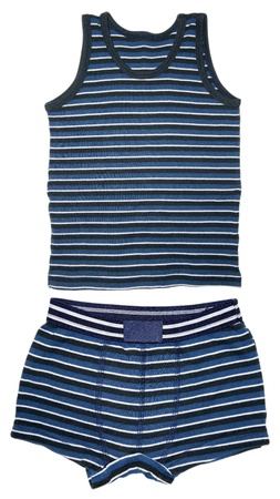 Front view of blue striped sleeveless sports shirt and underwear boxer shorts isolated on white background.  Stock Photo