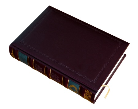 Book with a bookmark in leather blank cover with stamped isolated on white.