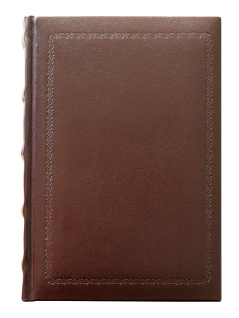Book in leather blank cover with stamped isolated on white. Clipping Path included.